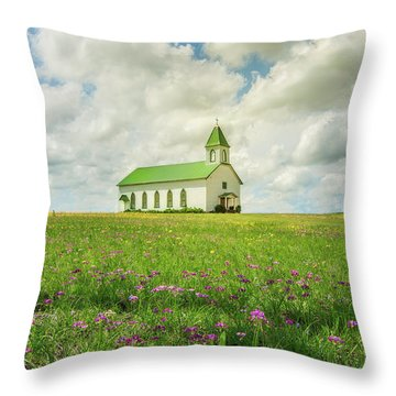 Little Church On Hill Of Wildflowers Throw Pillow by Robert Frederick