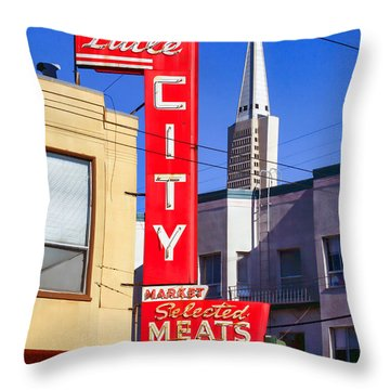 Little City Market North Beach San Francisco Throw Pillow