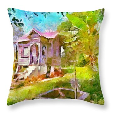Caribbean Scenes - Little Country House Throw Pillow