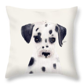 Throw Pillow featuring the painting Little Dalmatian by Bri B