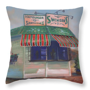 Little Drive-in On South Hawkins Ave Throw Pillow
