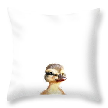 Little Duck Throw Pillow by Amy Hamilton