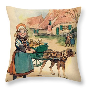 Little Dutch Girl With Milk Wagon Throw Pillow