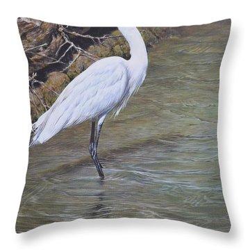 Little Egret Throw Pillow
