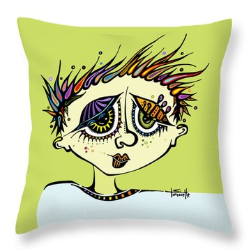 Throw Pillow featuring the drawing Little Einstein by Tanielle Childers