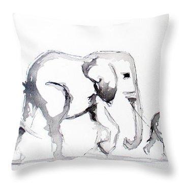 Little Elephant Family Throw Pillow