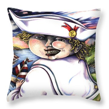 Throw Pillow featuring the drawing Little Elmo by Valerie White
