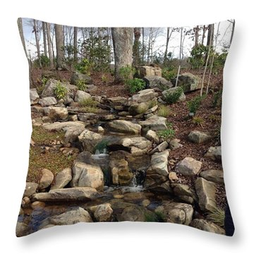 Little Falls In The Winter Throw Pillow