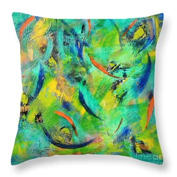 Throw Pillow featuring the painting Little Fishes by Lyn Olsen
