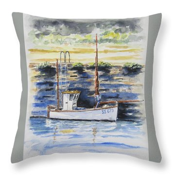 Little Fishing Boat Throw Pillow