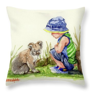 Little Friends Watercolor Throw Pillow