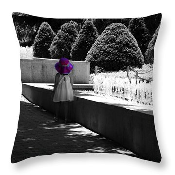 Little Girl In Magenta Hat Black And White Selective Color Throw Pillow