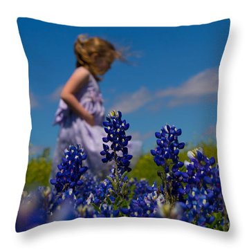 Little Girl In The Bluebonnets Throw Pillow