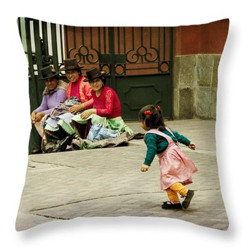 Little Girl On The Streets Of Lima, Peru Throw Pillow
