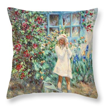 Little Girl With Roses  Throw Pillow by Pierre Van Dijk