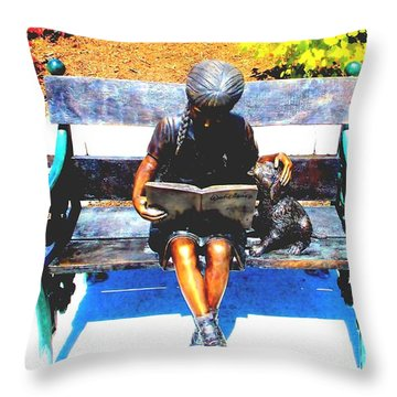 Little Girl Reading Throw Pillow