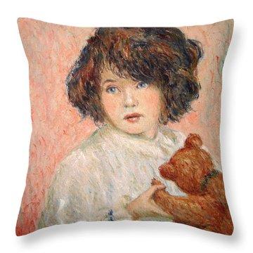 Little Girl With Bear Throw Pillow