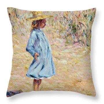 Little Girl With Blue Dress Throw Pillow