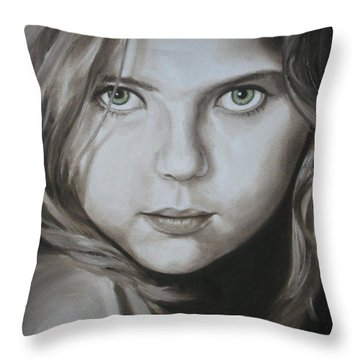 Little Girl With Green Eyes Throw Pillow