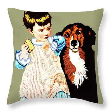 Little Girl With Hungry Mutt Throw Pillow