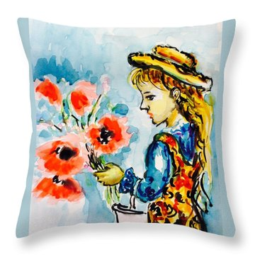 Little Girl With Poppies Throw Pillow by Hae Kim