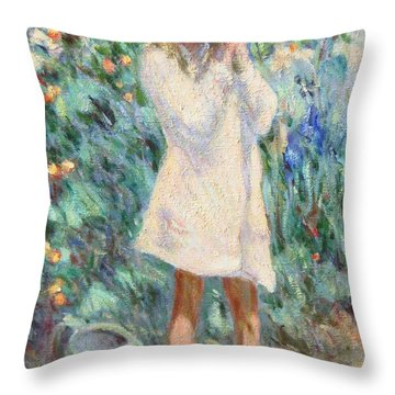 Little Girl With Roses / Detail Throw Pillow