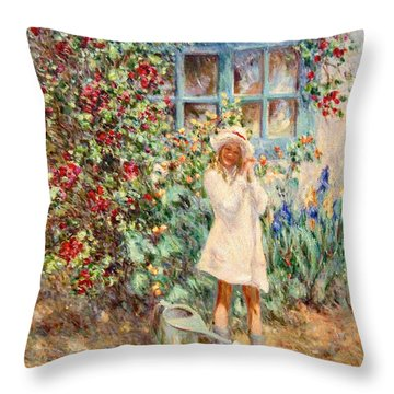 Little Girl With Roses  Throw Pillow