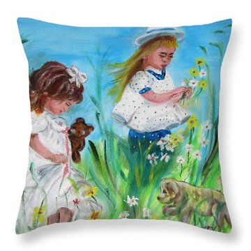 Little Girls Picking Flowers Throw Pillow