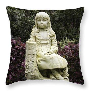 Little Gracie Bonaventure Cemetery Throw Pillow by Jeannette Hunt
