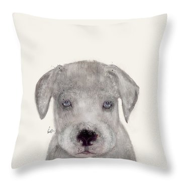 Throw Pillow featuring the painting Little Great Dane by Bri B