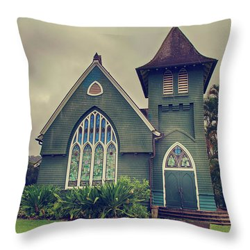 Little Green Church Throw Pillow