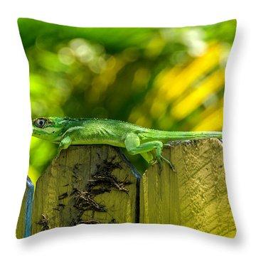Little Green Visitor Throw Pillow