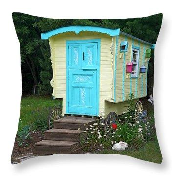 Little Gypsy Wagon II Throw Pillow by Judy Johnson