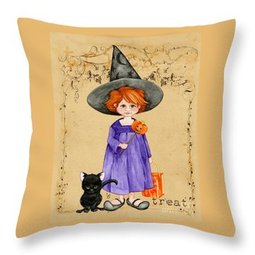Little Halloween Witch Throw Pillow