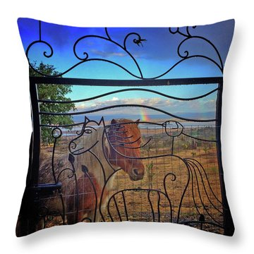 Throw Pillow featuring the painting Little Horse Little Rainbow by Marti McGinnis