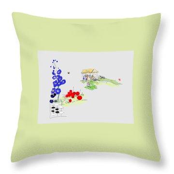 Little House And Garden Throw Pillow
