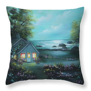 Little House By The Sea Throw Pillow