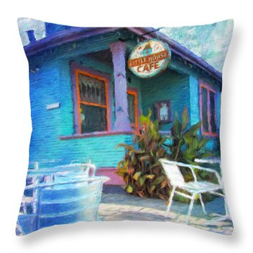 Little House Cafe  Throw Pillow by Linda Weinstock