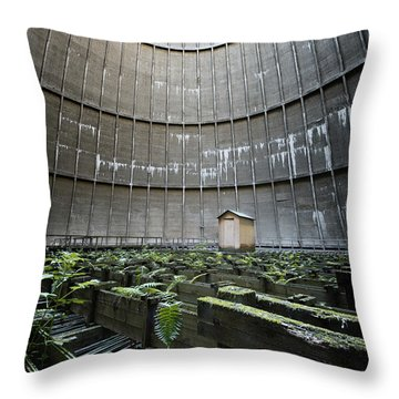 Throw Pillow featuring the photograph Little House Inside Industrial Cooling Tower by Dirk Ercken