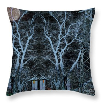 Little House In The Woods Throw Pillow