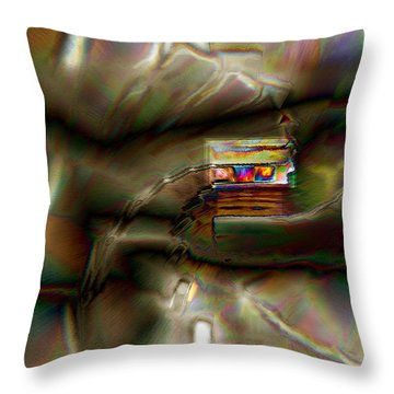 Little House On The Abstract Prairie Throw Pillow by Paula Ayers