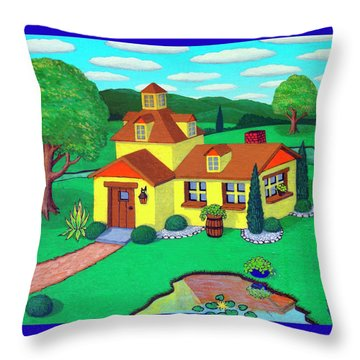 Little House On The Green Throw Pillow by Snake Jagger