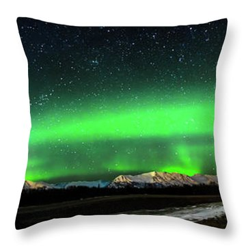 Little House Under The Aurora Throw Pillow