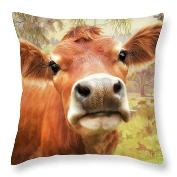 Throw Pillow featuring the digital art  Little Jersey by Trudi Simmonds