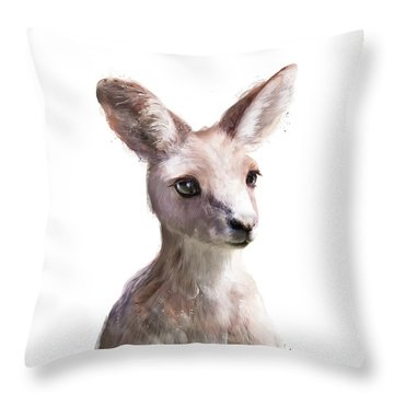 Little Kangaroo Throw Pillow by Amy Hamilton