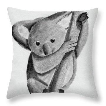 Little Koala On A Tree Throw Pillow