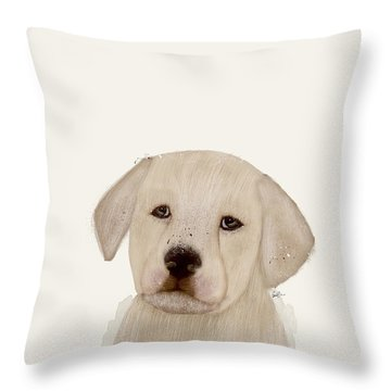 Throw Pillow featuring the painting Little Labrador by Bri B