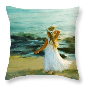 Little Lady At The Beach Throw Pillow