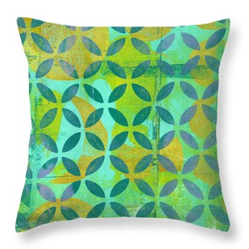 Throw Pillow featuring the mixed media Little Lemon Tree by Lisa Noneman