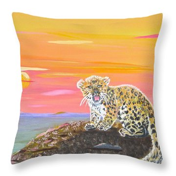 Throw Pillow featuring the painting Little Leopard by Phyllis Kaltenbach